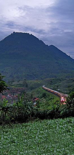 Banner trein - vulkaan schemering - 262 x 546 px